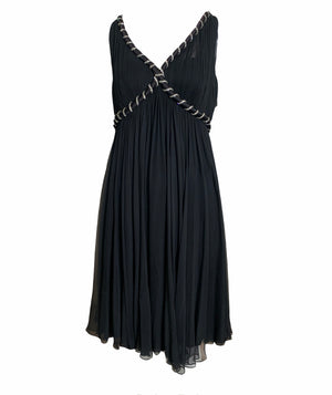 Malcolm Starr Black Chiffon Babydoll Dress with Rhinestones  FRONT 1 of 5