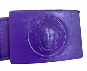 Gianni Versace Lifetime 90s Purple Leather Mini Dress BELT 6 of 7