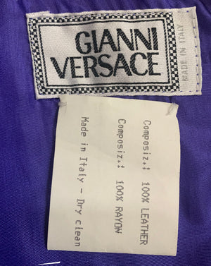 Gianni Versace Lifetime 90s Purple Leather Mini Dress LABEL 7 of 7