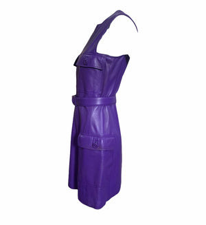 Gianni Versace Lifetime 90s Purple Leather Mini Dress SIDE 3 of 7