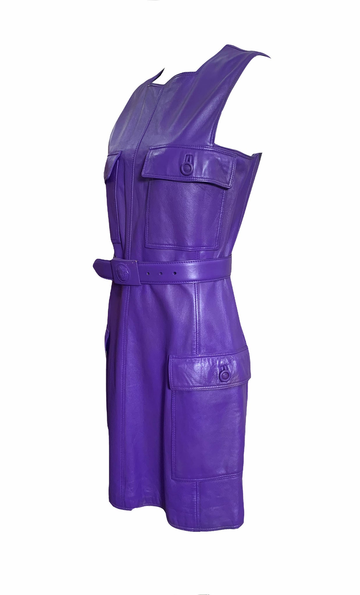 Gianni Versace Lifetime 90s Purple Leather Mini Dress ANGLE 4 of 7