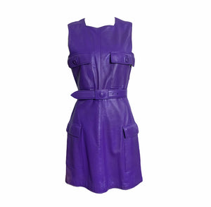Gianni Versace Lifetime 90s Purple Leather Mini Dress FRONT 1 of 7