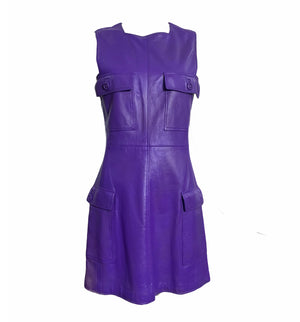 Gianni Versace Lifetime 90s Purple Leather Mini Dress W/O BELT 2 of 7