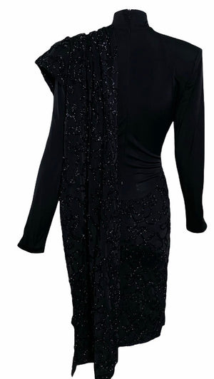 Patrick Kelly 80s Black Jersey Sexy Sheath Dress with Serious Swag BACK 2 of 4