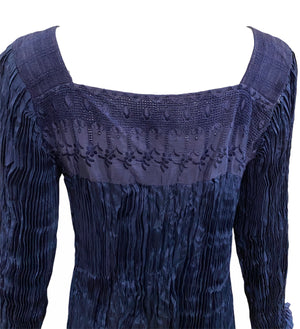 Afghani Blouse Blue Broomstick Pleated DETAIL 3 of 3