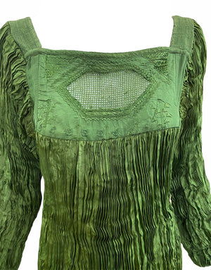 Afghani Blouse Sage Green Broomstick Pleated DETAIL 3 of 3