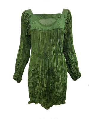 Afghani Blouse Sage Green Broomstick Pleated FRONT 1 of 3