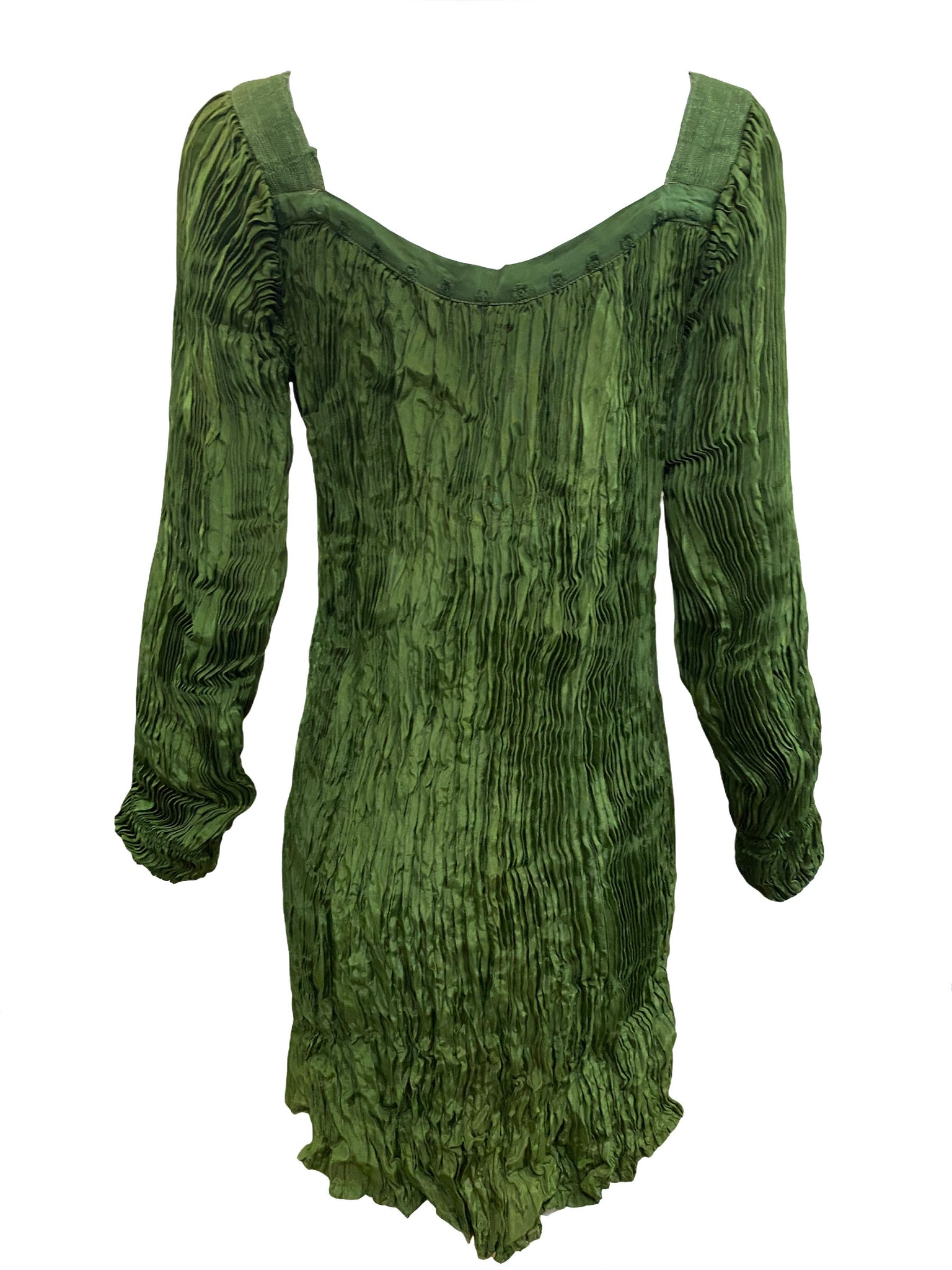 Afghani Blouse Sage Green Broomstick Pleated BACK 2 of 3