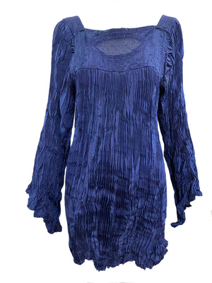 Afghani Blouse Blue Broomstick Pleated FRONT 1 of 3