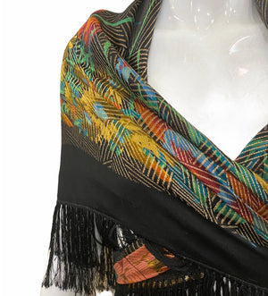 20s Shawl Black Satin Gold Lame Floral with Short Fringe DETAIL 3 of 3
