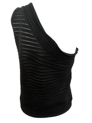Krizia 90s One Shoulder Black Knit Top BACK 2 of 4