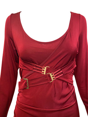 Tom Ford era Gucci Slinky Red Jersey Dress CLOSE UP 3 of 4
