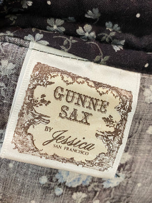 Gunne Sax Neo Victorian Black Floral Dress LABEL 4 of 4