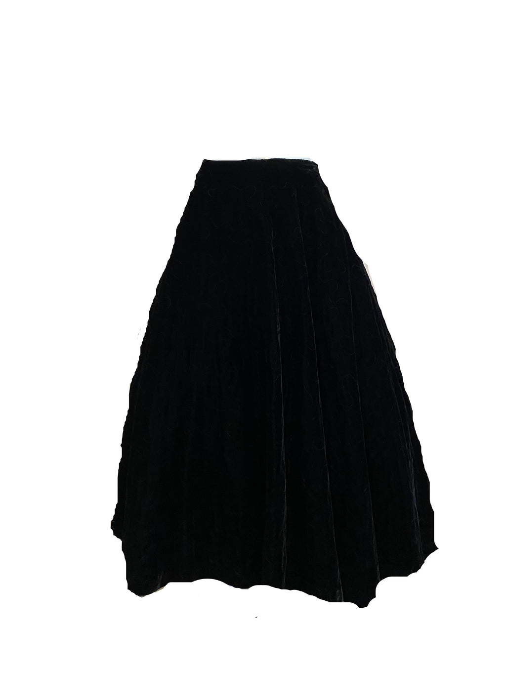 50s Black Velvet Quilted Circle Skirt FRONT 1 of 5