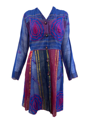 Paul Ropp Purple and Blue Paisley Summer Dress FRONT 1 of 4