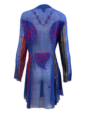 Paul Ropp Purple and Blue Paisley Summer Dress BACK 2 of 4