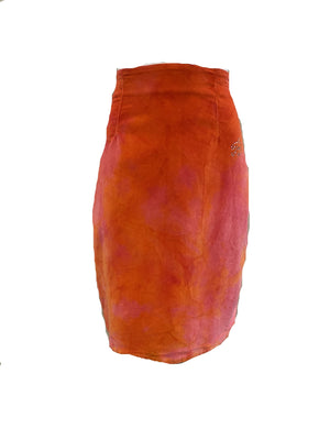 Blumarine 90s Orange Tie Dye Velvet Skirt FRONT 1 of 4