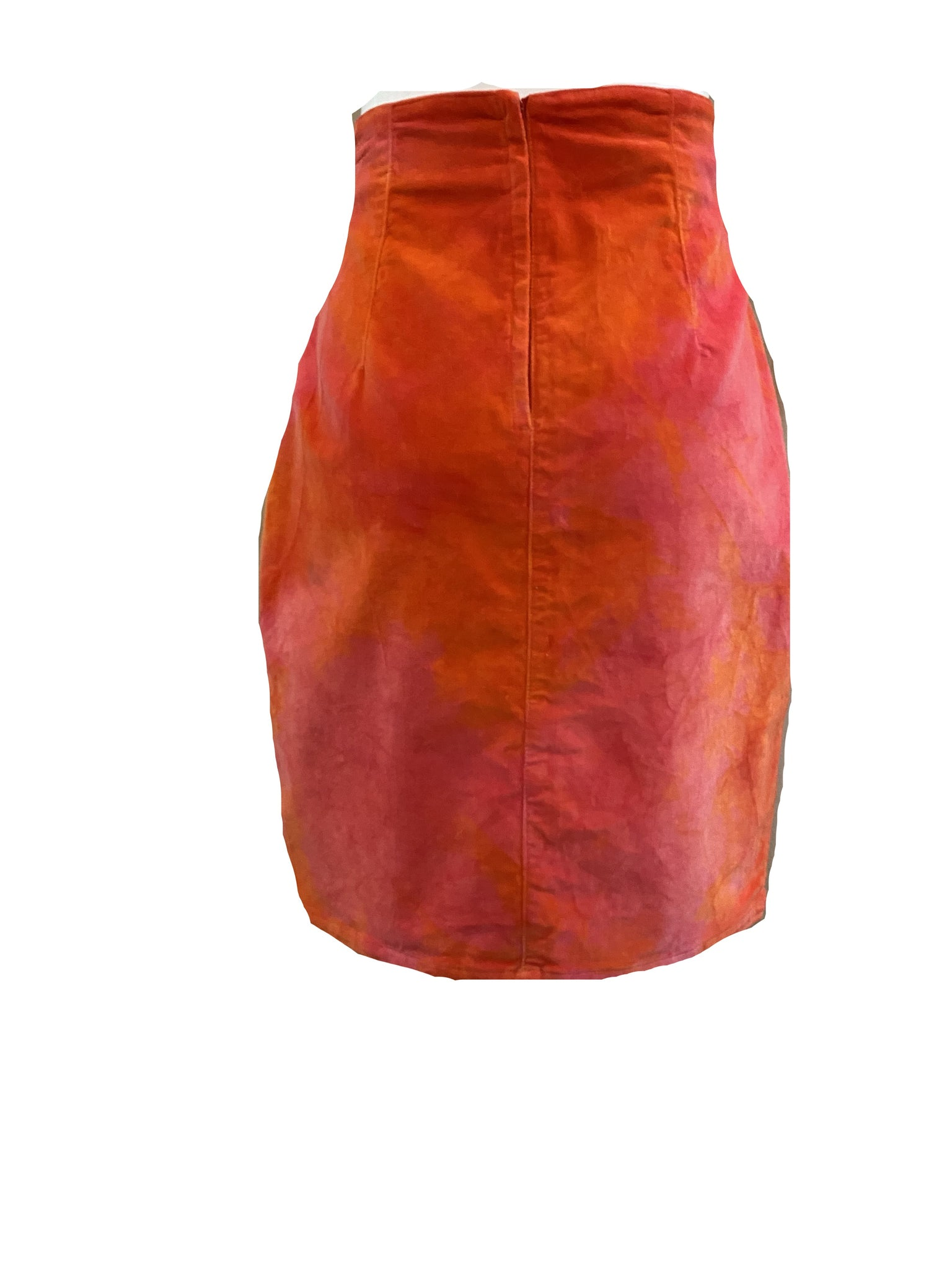 Blumarine 90s Orange Tie Dye Velvet Skirt BACK 2 of 4