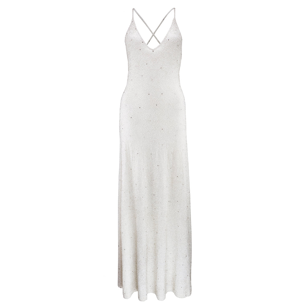 Vintage LAUREN 90s White Beaded Cashmere Gown – THE WAY WE WORE