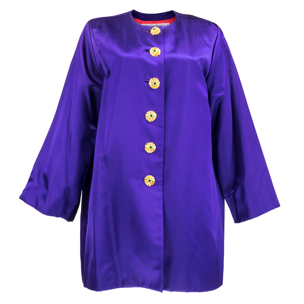 Vintage YSL 80s Purple Satin Evening Jacket