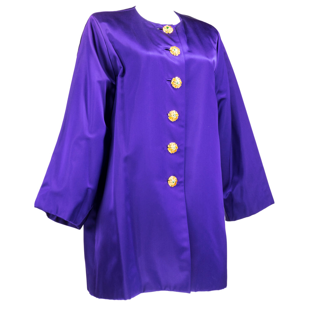 Vintage YSL 80s Purple Satin Evening Jacket, side