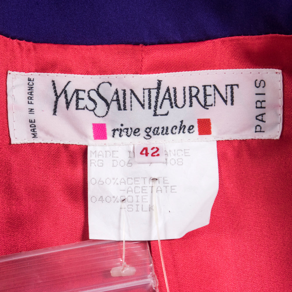 Vintage YSL 80s Purple Satin Evening Jacket, label