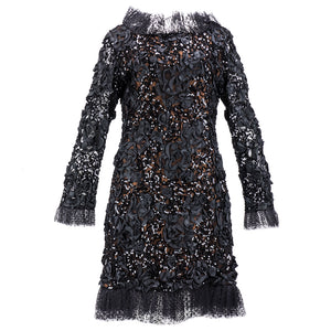 Vintage YSL 80s Black Ribbon & Sequin Party Dress