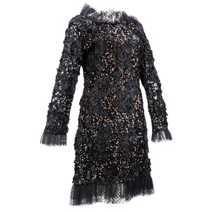 Vintage YSL 80s Black Ribbon & Sequin Party Dress, side