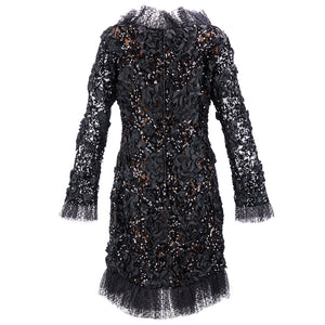 Vintage YSL 80s Black Ribbon & Sequin Party Dress, back