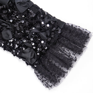 Vintage YSL 80s Black Ribbon & Sequin Party Dress, detail 1
