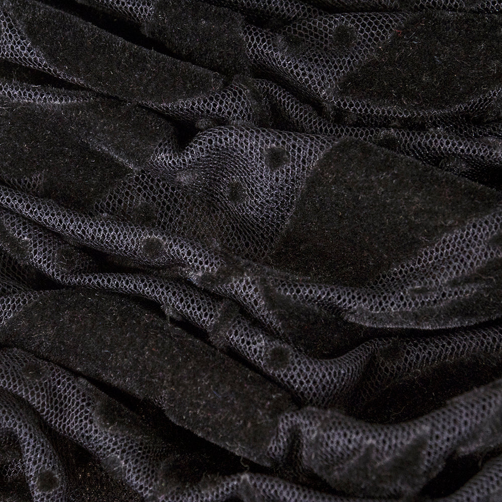 Vintage SCAASI 80s Black Flocked Strapless Ball Gown, detail 3