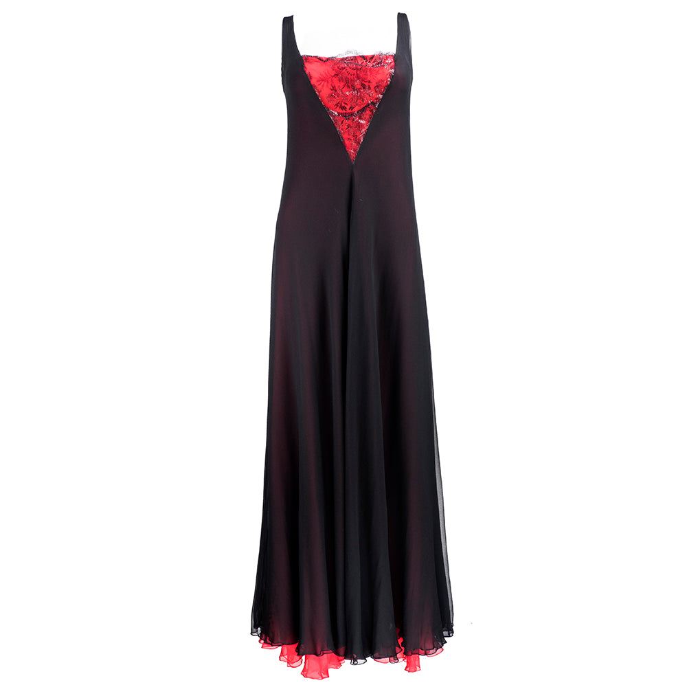 70s Stavropoulous Black and Red Chiffon Gown with Black Metallic Lace Insert