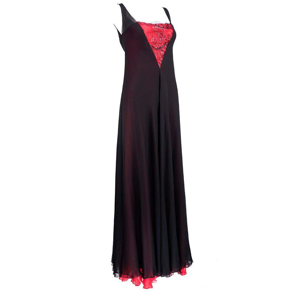 70s Stavropoulous Black and Red Chiffon Gown with Black Metallic Lace Insert, side
