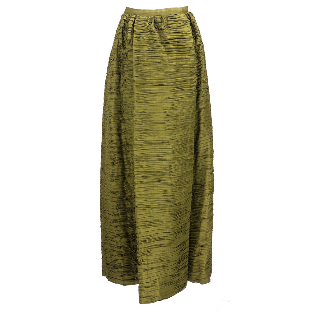 Vintage CONNOLLY 50s Deep Olive Green Evening Skirt, back