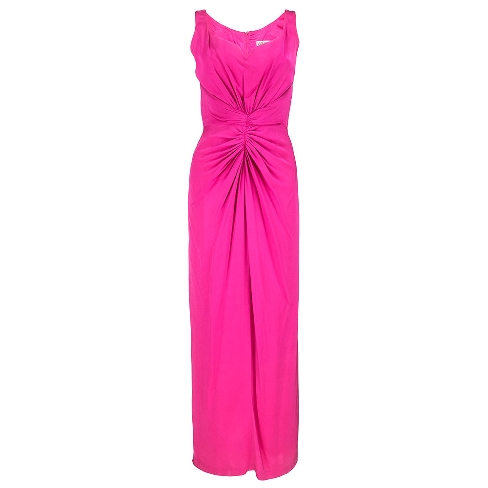VALENTINO Hot Pink Silk Crepe Goddess Gown