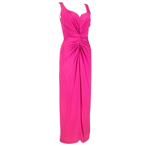 VALENTINO Hot Pink Silk Crepe Goddess Gown, side