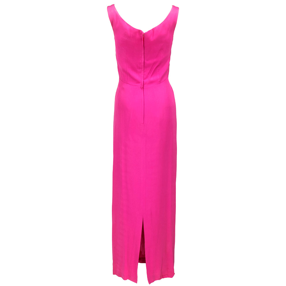 VALENTINO Hot Pink Silk Crepe Goddess Gown, back