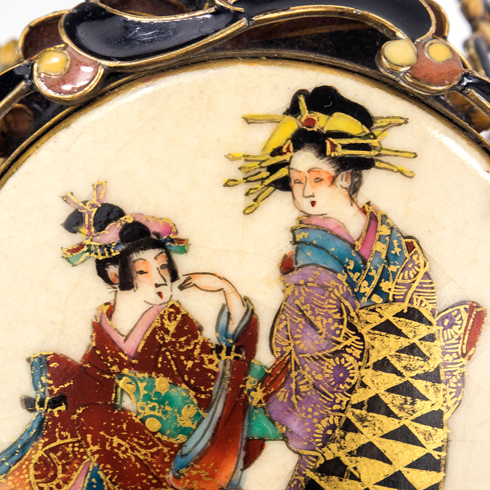 Vintage VEGA MADDUX 80s Parure of Enamel & Japanese Satsuma Porcelain, close-up
