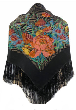 20s Shawl Black Satin Gold Lame Floral with Short Fringe BACK 1 of 3