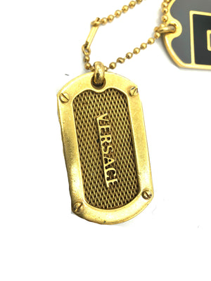 Lifetime Versace Gold Tone Enamel Dog Tags LOGO TAG 3 of 5