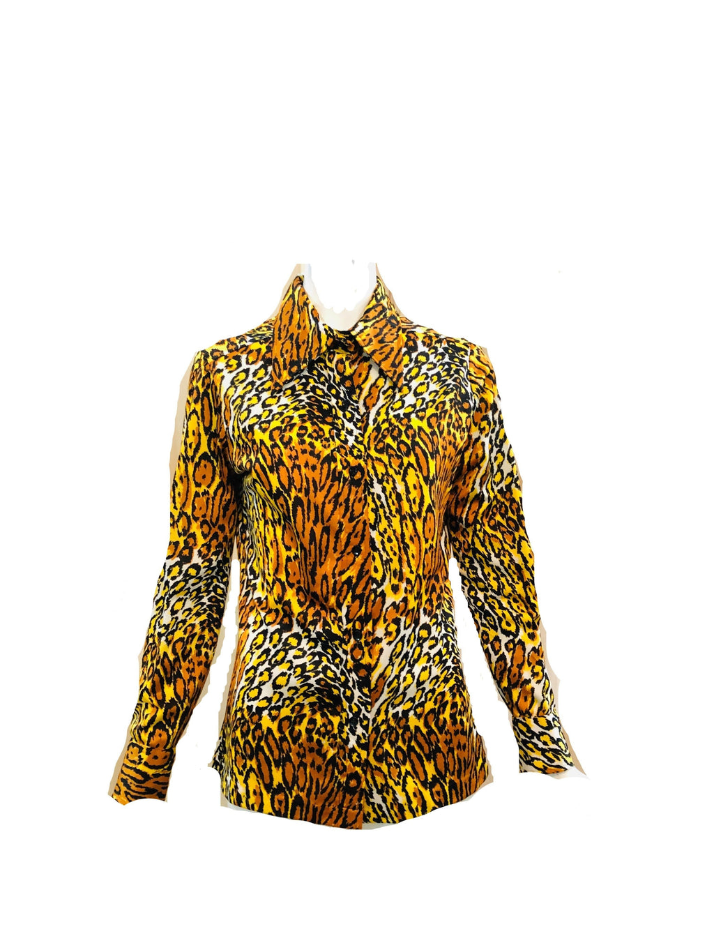 70s Leopard Print Poly Disco Shirt FRONT 1 of 4