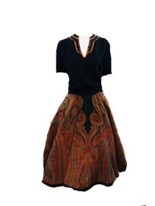 50s Paisley Sweater  Circle Skirt Ensemble