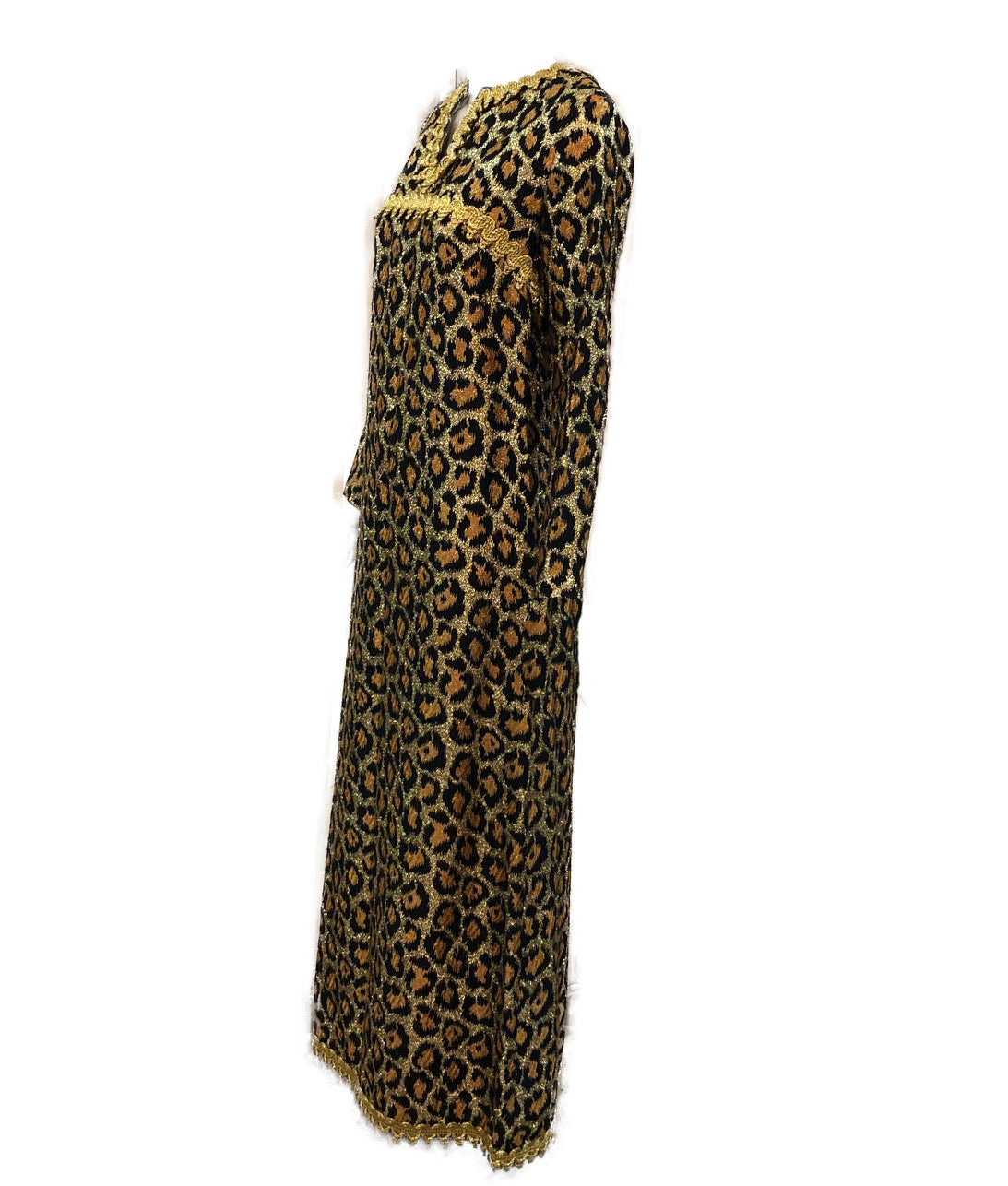 Outrageous 1960 Leopard Print Lame Gown Side 2 of 5