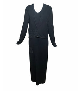 Krizia 90s Black Cashmere Beaded Maxi Dress with Cardigan FRONT WITH CARDIGAN 1 of 6