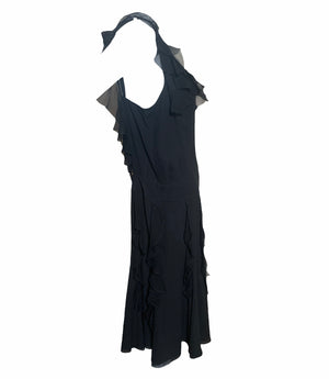 Galliano Attribution Black 30s Inspired Chiffon Dress  SIDE 2 of 3