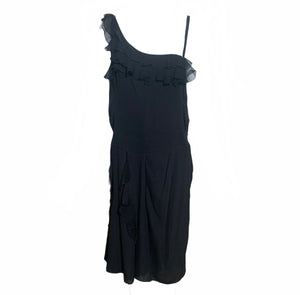 Galliano Attribution Black 30s Inspired Chiffon Dress  FRONT 1 of 3