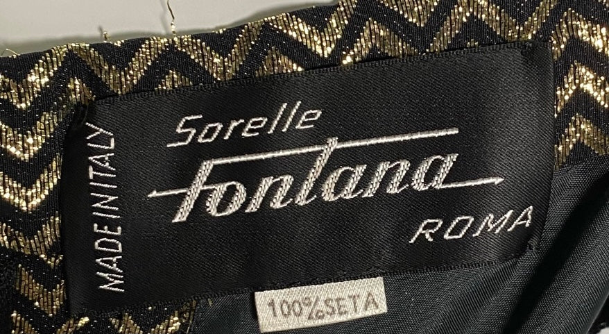 Sorelle Fontana 80s Gold Lame Zig Zag Deco Inspired Gown LABEL 4 of 4