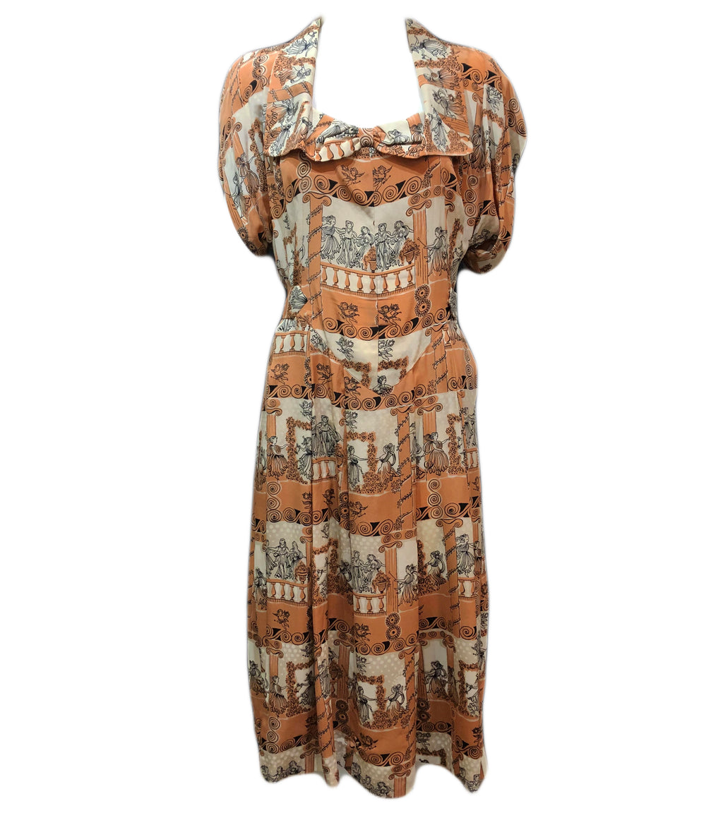 40s Dress Tan and Ivory Grecian Print  Front 1 of 3