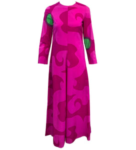 60s Marimekko Magenta Cotton Maxi Dress FRONT 1 of 4