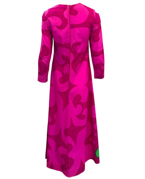 60s Marimekko Magenta Cotton Maxi Dress BACK 2 of 4